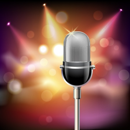 Retro muziek microfoon muzikale apparatuur embleem op het podium achtergrond vector illustratie.