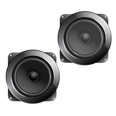 surround: Audio speaker subwoofer music system isolated on white background vector illustration.