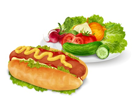 mustard: Hot dog with mustard and ketchup fast food with vegetable salad isolated on white background vector illustration Illustration