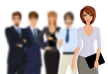 Gruppe von Geschäftsleuten busines Frau mit Business-Team isoliert auf weißem Vektor-Illustration Standard-Bild - 31003719