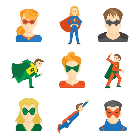Superhero boys and girls avatars in masks and disguise flat set isolated vector illustration