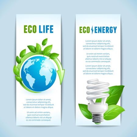 Ecology and green energy eco life concept vertical banners isolated vector illustration Vector