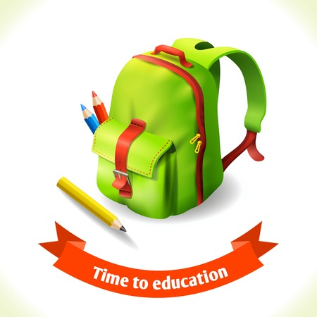 knapsack: Realistic green backpack with pencils education icon vector illustration