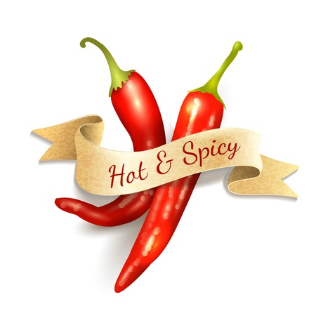 Red chili pepper hot and spice kitchen ribbon badge vector illustration Imagens - 31009265