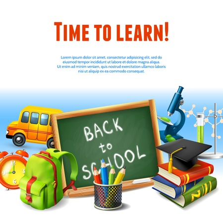 Realistic back to school rime to learn border template with education icons vector illustration.
