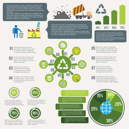 Garbage recycling infographic elements set with cleaning icons and charts vector illustration Vector