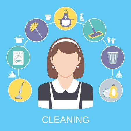 dienstverlening: Reinigen van huishoudelijke dienst meid pictogrammen samenstelling met afwasmiddel stofzuiger abstract solide geïsoleerde vector illustratie Stock Illustratie