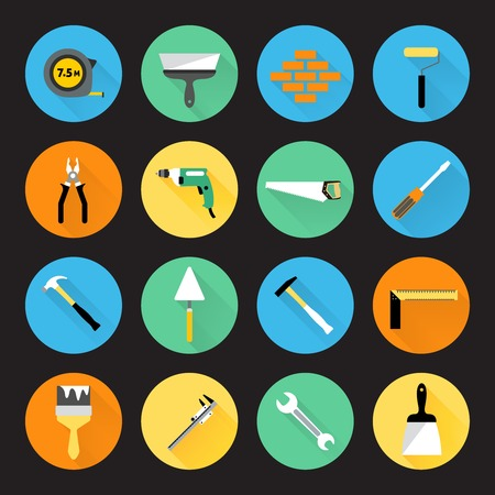 hand work: Builder and construction hand work repair instruments icons set isolated vector illustration. Illustration