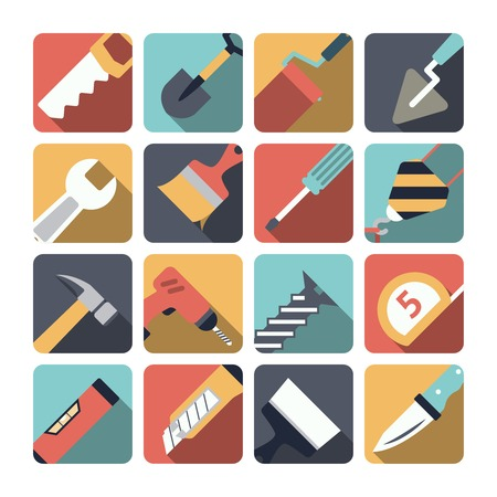 Home repair instruments pictograms set flat with shadow of paint brush and retractable knife isolated vector illustration Vector