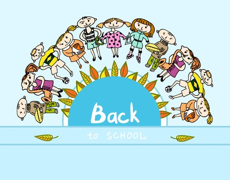 Decorative back to school kids education accessories on round banner poster doodle sketch vector illustration Vector