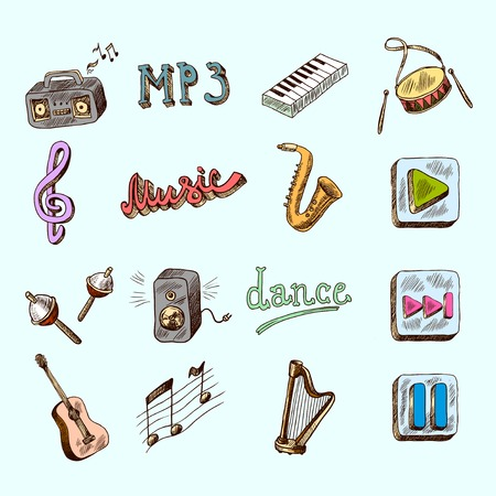 Set of music dance instruments hand drawn color icons in sketch style vector illustration Vector