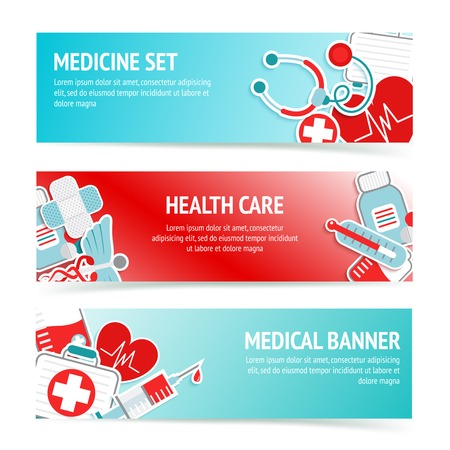 Three horizontal health care banners with medical emblems and emergency first aid kit symbols abstract vector illustration Vector