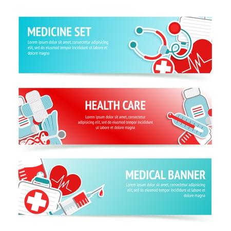first aid kit: Tres banderas de atenci�n m�dica horizontales con emblemas y s�mbolos m�dicos botiqu�n de primeros auxilios de emergencia abstracto ilustraci�n vectorial Vectores