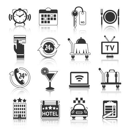 accommodation: Hotel travel accommodation black pictograms set of room breakfast service alarm and 24h reception isolated vector illustration Illustration