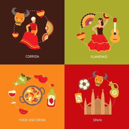 Spain culture symbols corrida bullfight and paella food vine sangria travel icons composition set flat vector illustration