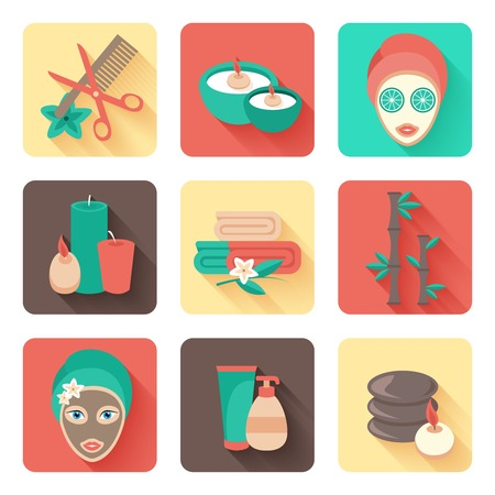 Spa  personal facial mask and body treatments with aromatherapy flat solid pictograms collection abstract isolated vector illustration Vector