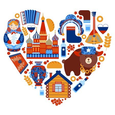 Rusia corazón viaje conjunto con elementos tradicionales iconos nacionales establecer ilustración vectorial