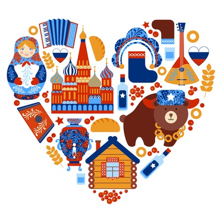 muñecas rusas: Rusia corazón viaje conjunto con elementos tradicionales iconos nacionales establecer ilustración vectorial Vectores