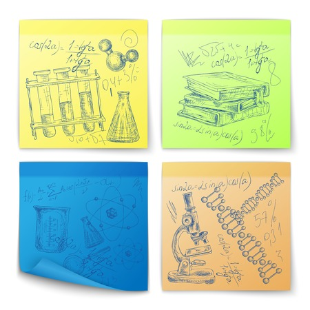 Science education sketch stickers with atom dna structure books microscope isolated vector illustration Vector