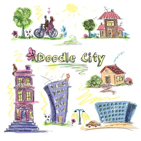 City doodle set colored of modern and old urban buildings isolated vector illustration