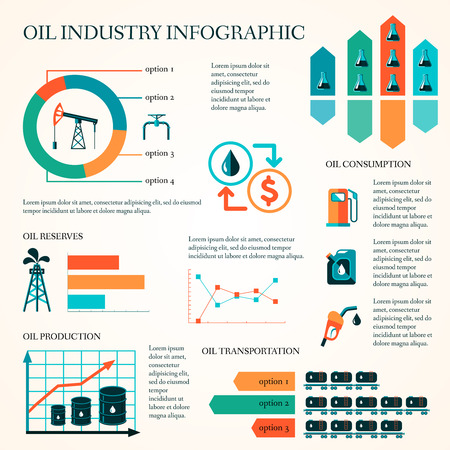 feedstock: World oil production distribution and petroleum extraction rate infographics diagram layout report presentation design vector illustration Illustration