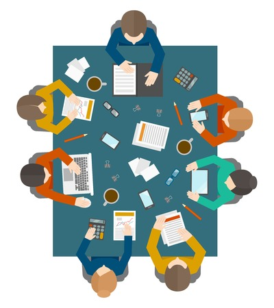 Flat style office workers business management meeting and brainstorming on the square table in top view vector illustration