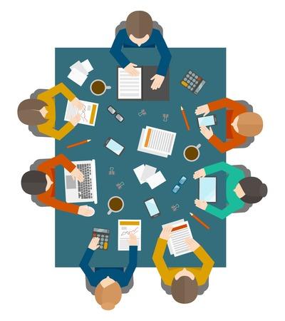 circulo de personas: Reuni�n Piso estilo oficinistas gesti�n empresarial y de intercambio de ideas sobre la mesa cuadrada en vista superior ilustraci�n vectorial Vectores