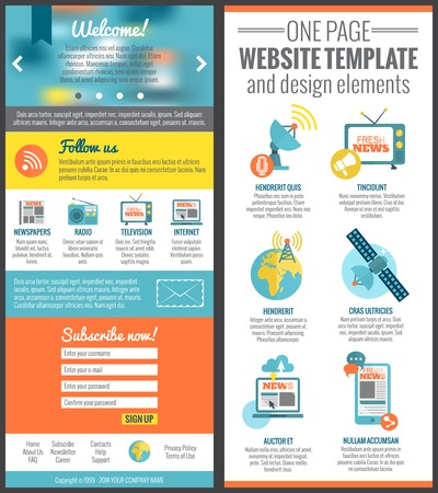 social web sites: One page web site template for mass media communication industry vector illustration Illustration