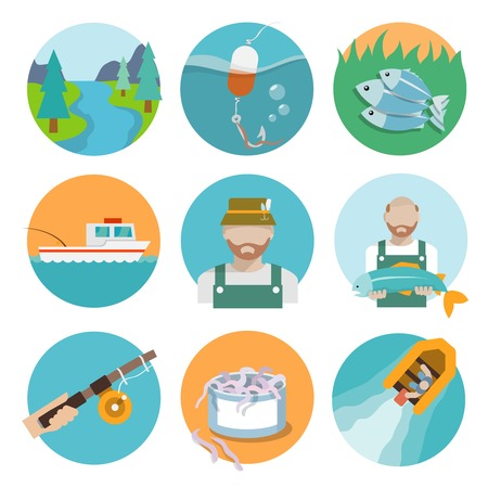 Set of river fisherman boat rod icons in flat style on circles vector illustration Illustration