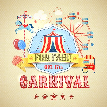 amusement park rides: Vintage carnival fun fair theme park advertising poster vector illustration