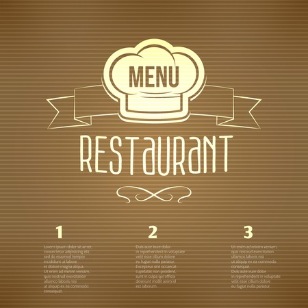 platter: Restaurant cafe menu with chef hat label and striped background vector illustration