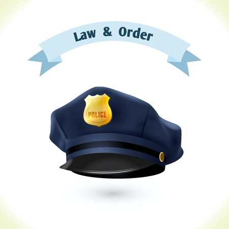 Law icon police hat isolated on white background vector illustration Vector