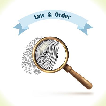 autoridad: Icono de la Ley de huellas digitales bajo la lupa aislado sobre fondo blanco ilustración vectorial Vectores