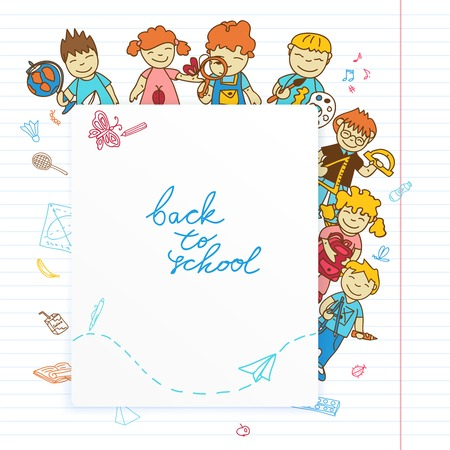Decorative kids back to school  poster with kids look out banner sketch doodle vector illustration