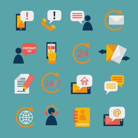 contact person: Customer care contacts in flat style icons set of online and offline support services isolated vector illustration