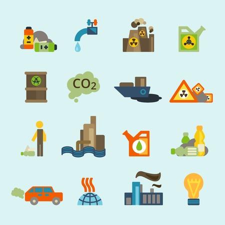 contaminacion del agua: Eliminación de residuos núcleo y baterías radiactivo difusas símbolos de contaminación ambiente pictogramas colección aislados ilustración vectorial abstracto plana Vectores