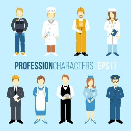 비즈니스 사람들이 직업 만화 캐릭터는 웨이트리스 스튜어디스 고립 된 벡터 일러스트 레이 션을 요리 관리자 엔지니어 요리사 세트 일러스트