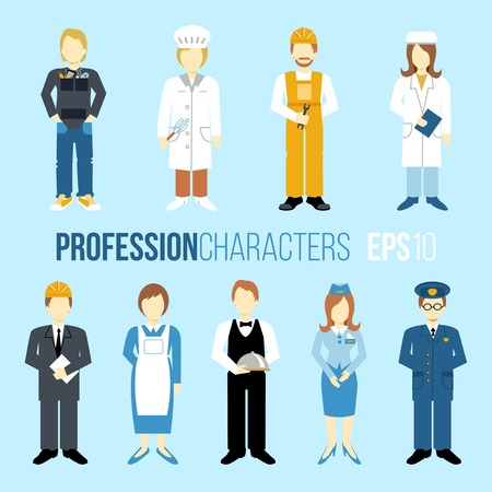Business people professions cartoon characters set of manager engineer chef cook waitress stewardess isolated vector illustration