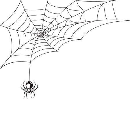Poisonous spider web Halloween symbol wallpaper template vector illustration