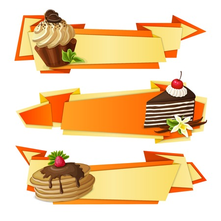 panna cotta: Decorative sweets food paper banners set with chocolate muffin vanilla cake pancakes dessert isolated vector illustration.