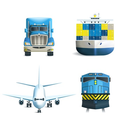 airplane cargo: Logistic realistic icons set of truck airplane train ship transport isolated vector illustration.