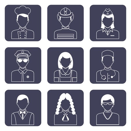Avatar professions outline icons set of doctor firefighter judge pilot isolated vector illustration Vector