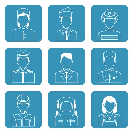 Avatar professions outline icons set of astronaut graduate student manager clerk isolated vector illustration Illustration