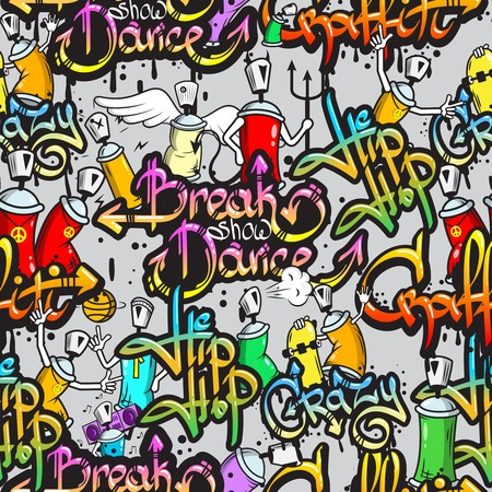 subculture: Graffiti spray paint street art subculture characters letters composition design seamless colorful pattern sketch grunge vector illustration Illustration