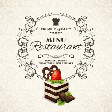 cakes background: Decorative sweets dessert restaurant menu with sponge cake vector illustration