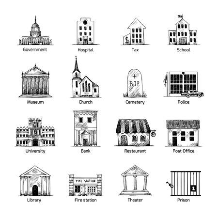 Regierungsgebäude Symbole in Hand zeichnen Stil der Post Friedhof Museum Schulkirche Theater isoliert Vektor-Illustration gesetzt