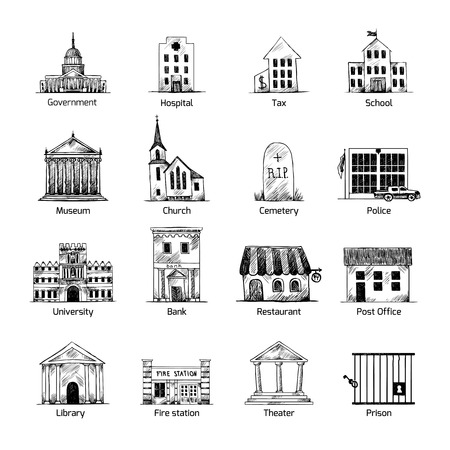 Government building icons set in hand draw style of post cemetery museum school church theater isolated vector illustration Illustration