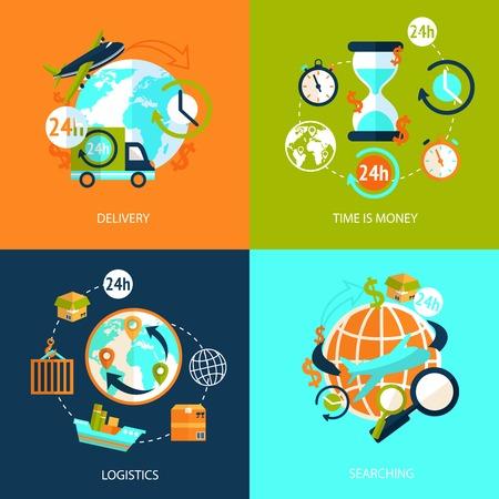 Logística Escenografía iconos de entrega rápida y servicio buscando símbolos plana aislado ilustración vectorial Foto de archivo - 31010493