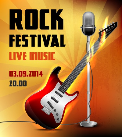 Rock festival live music concert poster with electric guitar and microphone vector illustration. Vector