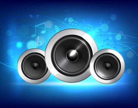 acoustic systems: Audio speakers subwoofer system on blue music background concept vector illustration. Illustration